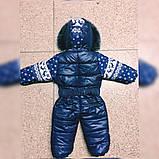 Комбинезон детский на змейке+капюшон с мехом Олени на флисе80-98 см, фото 3