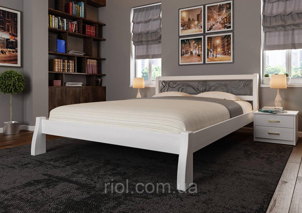 Кровать деревянная двуспальная Ретро с ковкой