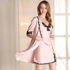 Женская ночная сорочка+халат. Кружево- 318-04 , фото 3