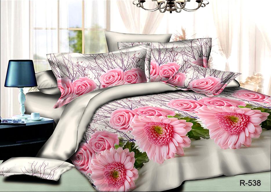 """Полуторный комплект постельного 150х220 из ранфорса """"Розовые астры"""""""