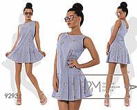 Платье-чарльстон мини из коттона с вышивкой без рукавов с заниженной талией и юбкой в складку 9293