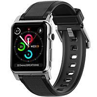 Силиконовый ремешок Nomad Vulcanized LSR Silicone Strap для Apple Watch чёрный, серебристый
