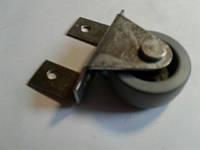 Ролик мебельный серо-чёрный с рогатым, боковым креплением (ролик Ф-43 мм)