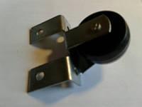 Ролик мебельный чёрный с рогатым, боковым креплением (ролик Ф-43 мм)