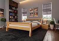 Кровать деревянная двуспальная Ретро с ковкой и высоким изножьем