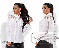 Рубашка-вестерн прямая из вискозы с длинными рукавами, воротником-стойкой и глубокой кокеткой из гипюра 9383
