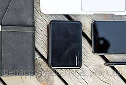Кожаный кошелек Zhuse 012, с Powerbank, Черный