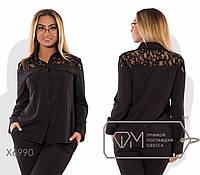 Рубашка-вестерн прямая из вискозы с длинными рукавами, воротником-стойкой и глубокой кокеткой из гипюра X6990