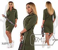 Платье-сафари мини облегающее из диагонали с планкой до талии, карманами карго, ремнём и боковой застёжкой юбки X6997
