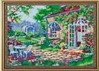 """Картина по номерам G187 """"Домик в цветах"""" 40х50см краски акрил +кисть -3шт"""