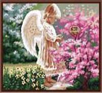 "Картина по номерам G280 ""Ангел и Сакура"" 40х50см краски акрил +кисть -3шт"