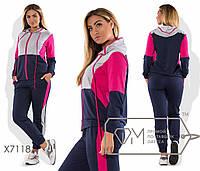 Спорткостюм из двунитки с контрастной отделкой верха и лампасов - олимпийка с капюшоном на длинных шнурках и джоггеры X7118