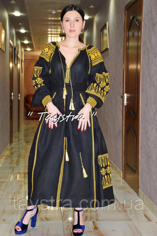 Вышивка золотом на платье черное бохо вышиванка лен, этно, стиль бохо шик, вишите плаття вишиванка, Bohemian,