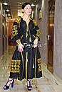 Вышивка золотом на платье черное бохо вышиванка лен, этно, стиль бохо шик, вишите плаття вишиванка, Bohemian, , фото 2