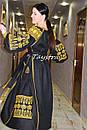 Вышивка золотом на платье черное бохо вышиванка лен, этно, стиль бохо шик, вишите плаття вишиванка, Bohemian, , фото 4