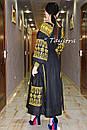 Вышивка золотом на платье черное бохо вышиванка лен, этно, стиль бохо шик, вишите плаття вишиванка, Bohemian, , фото 5