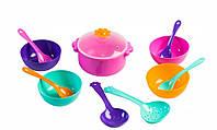 Ромашка, набор столовой посуды 12 предметов, с розовой кастрюлей. Тигрес (39143-2)