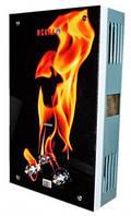"""Газовий проточний водонагрівач ІСКРА принт """"вогонь"""" (стекло) - 10 лмин"""
