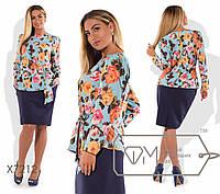 Костюм-двойка - блузка из вискозы с длинным рукавом и драпировкой с бантом на поясе плюс юбка-карандаш миди из креп-костюмки X7212