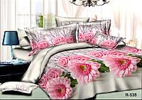"""Семейный комплект постельного белья 150*220 (2 шт) из ранфорса """"Розовые астры"""""""