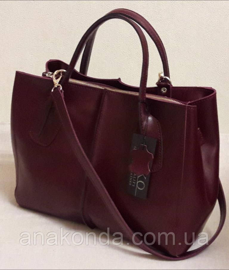 56 Натуральная кожа, Сумка женская бордовая Женская кожаная сумка бордовая марсала