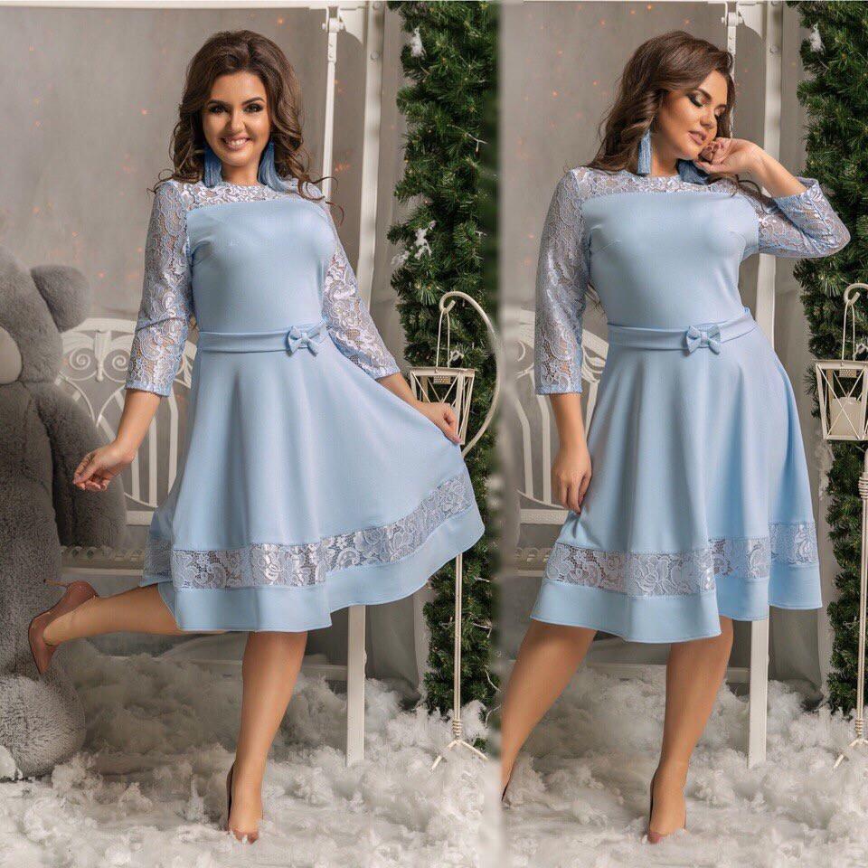 c72d86d83ca Купить Платье вечернее с гипюром батала голубое оптом и в розницу от ...