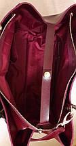 56 Натуральная кожа, Сумка женская бордовая Женская кожаная сумка бордовая марсала, фото 3