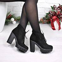 Ботинки женские Pill черные замша Зима 3935