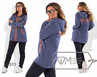 Спорткостюм из трёхнитки с начёсом - удлинённая прямая куртка на молнии с капюшоном и косыми карманами плюс прямые штаны X7370