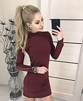 Платье бордовое короткое с замочком , фото 1