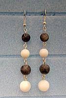 Серьги из натурального камня длинные, Лабрадор, Перламутр, цвет белый, серый