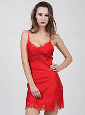 Женская ночная сорочка.Атлас, красное кружево- 318-02, фото 2