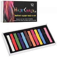 """Мел для волос 12 цв. """"Hair chalk"""" 8357-12 (6,5x1x1 см.)"""