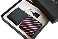 Мужской набор портмоне с галстуком и брелком