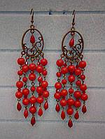 Серьги из Коралла, натуральный камень, цвет красный