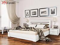 Двухспальная кровать из натурального дерева с подъёмным механизмом Селена  (Бук) щит