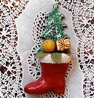 """Подарок на новый год 2019 Сувенирный магнит на новый год """"Рождественский сапог""""."""