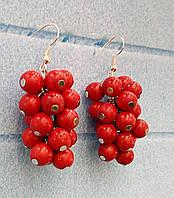 Серьги гроздь Коралл, натуральный камень, цвет красный