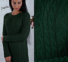 Вязаное платье с асимметричным низом украшенное бусинами, женские вязаные платья оптом от производителя, фото 2