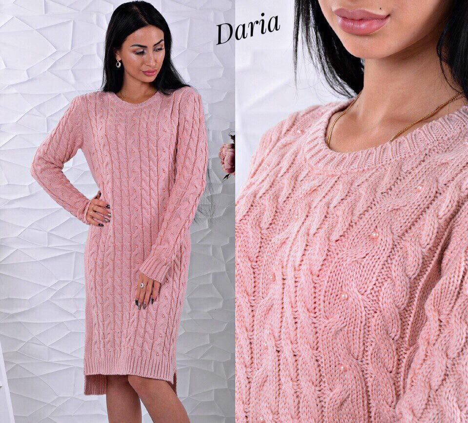 0e64870af91 Вязаное платье с асимметричным низом украшенное бусинами