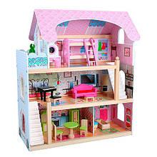 Деревянный кукольный домик с куклами