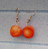 Серьги Коралл, натуральный камень, маленькие, цвет оранж