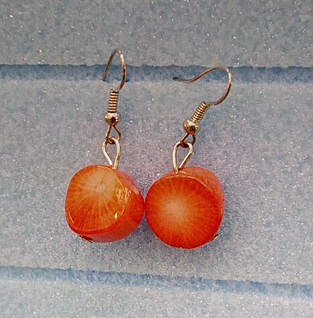 Серьги Коралл, натуральный камень, маленькие, цвет оранж - Satori - интернет магазин для всей семьи в Днепре