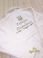 Махровый халат с индивидуальной вышивкой