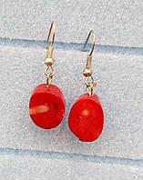 Серьги Коралл, натуральный камень, маленькие, цвет красный
