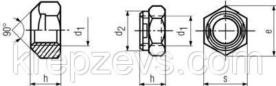 Схема габаритных размеров гайки самоконтрящейся DIN 980