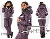 Лыжный костюм-двойка из плащёвки на синтепоне 150 и овчине - куртка с капюшоном и опушкой плюс штаны на эластичном поясе с кулиской X7680