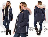 Куртка-парка прямая из ткани парка на синтепоне 150 и искусственной овчине со съёмным мехом по линии застёжки и капюшоном с опушкой X7683