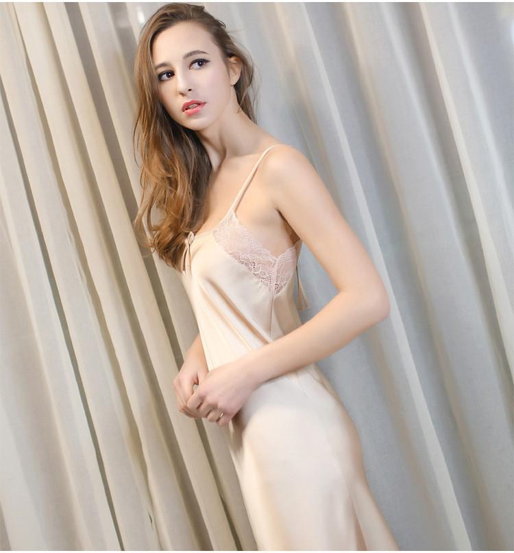 Женская ночная сорочка.Атлас, шампанское- 318-01