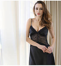 Женская ночная сорочка.Атлас,черный гипюр- 318-05, фото 2